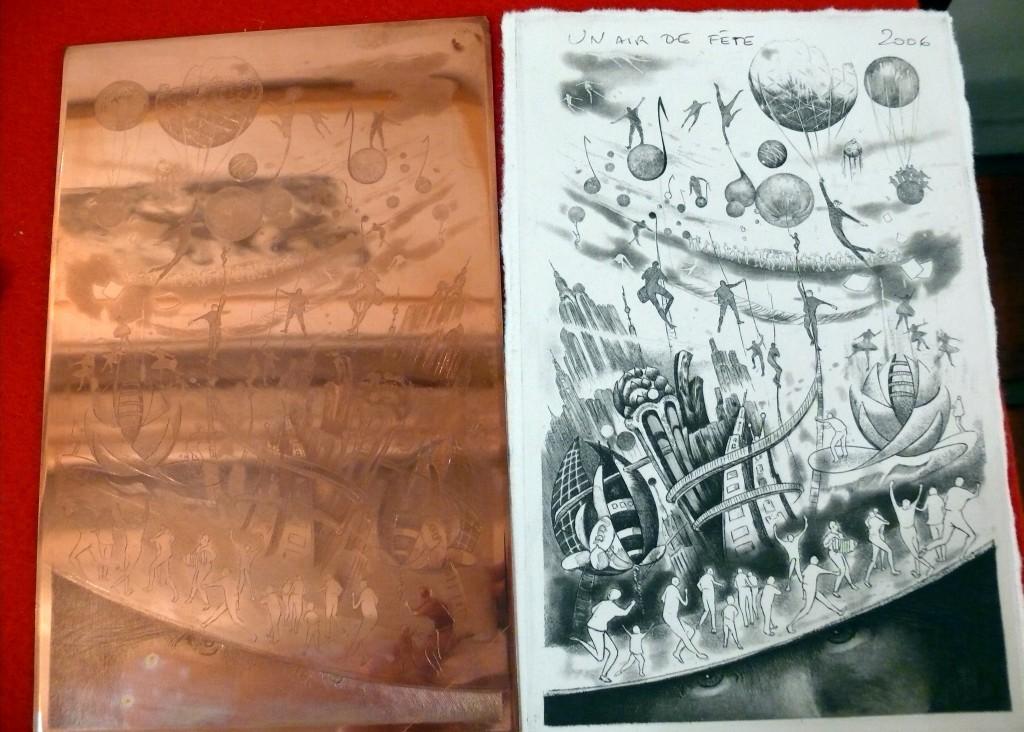 Dessin sur cuivre (Eaux-forte) et son impresion sur papier